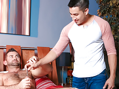 Hunter enters the room, shocked to look at Jake sounding himself daddy gay movies