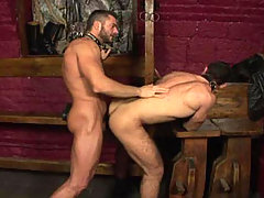 Handsome hairy studs fucking in a dark dungeon in this video
