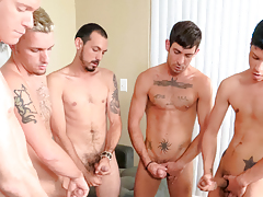 5 guys gush cock cream on a muffin that the last to cock cream has to eat! daddy gay movies