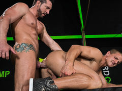 It's leg day, and clandestine trainer Jimmy Durano establishes by stretching out his client, Landon Mycles. As Jimmy massages Landon's thick, powerful legs, the largest bulge in Jimmy's spandex swells. After their intense workout, Landon and Jimmy can't r
