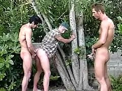 Hot guys enjoy 69 blowjob on picnic