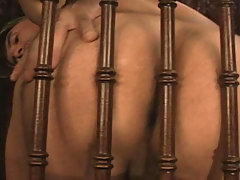 Sexy and hot Stud jerk off his meat behind a woody chair daddy gay movies