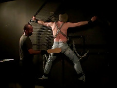 Sir Pan has a inexpert toy, and he needs someone to try it out. It's homemade, and he isn't utterly sure it will stay bolted to the wall... Luckily prisoner #12282010 has been volunteered to assist. Sir Pan chains him to the spinning octagon and rotate daddy gay movies