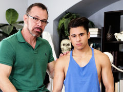 Burly stud Max Sargent, acting teacher to the stars, has his hands full with petite brawny boy-toy Armond Rizzo. After running dialogue, things heat up, and both of them passionately kiss. Armond sucks Max's excellent sized in anticipation of the older f