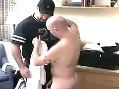 Chubby gay man sucks hard cock